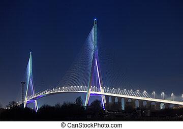 normandie, bro, (pont, av, normandie, france), om natten