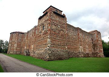 normann, colchester, öreg, évszázad, uk, bástya, 11