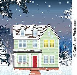 norme, hiver, maison, chute neige