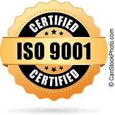 norme, iso, 9001, certifié, icône