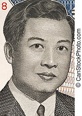Norodom Sihanouk (1922-2012) on 2000 Riels Banknote from Cambodia. King of Cambodia during 1941-1955 and 1993-2004.
