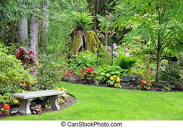 noroeste, pacífico, jardim