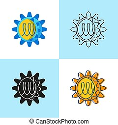 Norovirus cell icon set in flat and line style