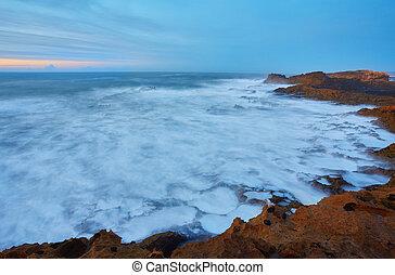 norr, över, ocean, atlanten, essaouira, solnedgång, hamn