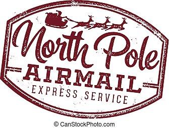 norr, jultomten, stämpel, pol, brev, flygpost