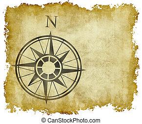 norr, karta, pil, kompass