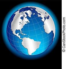 norr, klot, amerika, europa, värld, silver, syd