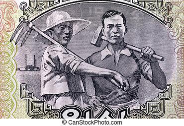 norra koreansk, arbetare, &, bonde