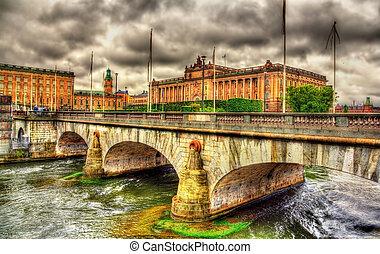 norrbro, 橋梁, 以及, 議會, 在, 斯德哥爾摩, 瑞典