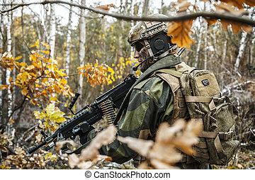 norrman, soldat, in, den, skog