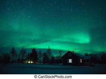 norrsken, (aurora, borealis), över, stuga, in, lappland, village., finland
