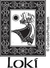 Norse God Loki With Border - Woodcut style image of the ...