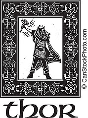 Norse God Thor With Border - Woodcut style image of the...
