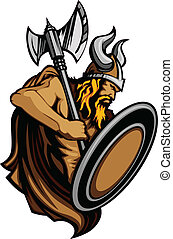 norseman, esprit, viking, mascotte, debout