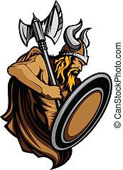 norseman, verstand, viking, mascotte, staand