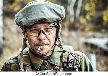 norsk, bevæbne fremtvinge, soldat