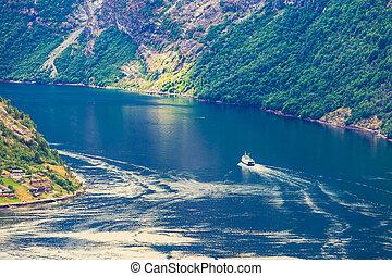 norsk, skib, fjord, cruise