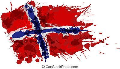 norska flagga, gjord, stänk, färgrik