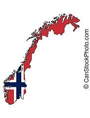 norsko, -, celostátní mapovat, nárys, state flag