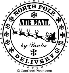 Nort Pole delivery by Santa post stamp