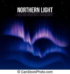 norteño, ártico, alaska, aurora, luces, vector, plano de fondo, polaris