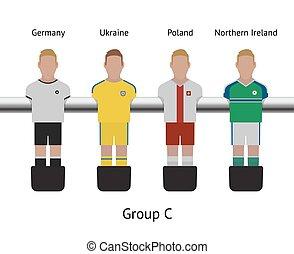 norteño, jugador, foosball, game., set., fútbol, polonia, ...