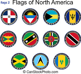 norte, america., banderas, 2.