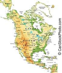 norte, america-physical, mapa