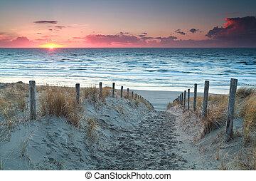 norte, areia, pôr do sol, mar, caminho, praia, antes de