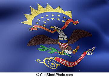 norte, bandera, estado, dakota