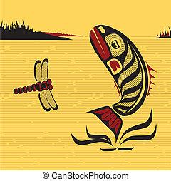 norte, canadiense, oeste, pez, vector, arte, nativo
