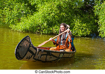 norte, canoa, abajo, indio americano, río, flotadores
