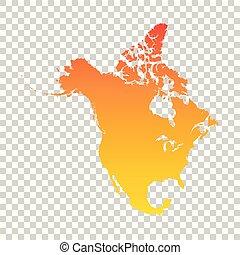 norte, colorido, map., ilustración, vector, naranja, américa
