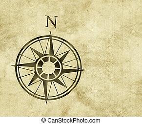 norte, compás, mapa, flecha