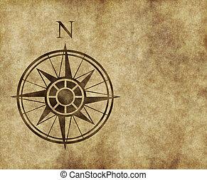 norte, compasso, mapa, seta