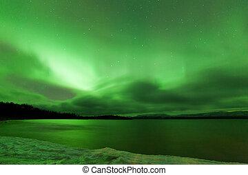 norte, congelado, sobre, céu, lago, luzes, laberge, noturna