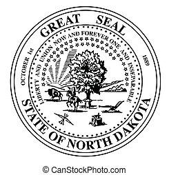 norte, dakots, estado, selo