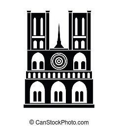 Norte Dame Cathedral, Paris icon in simple style isolated on white