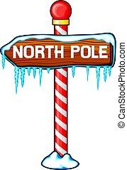 norte, de madera, ilustración, señal, poste, vector