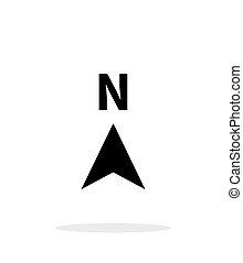 norte, dirección, compás, icono, blanco, fondo.