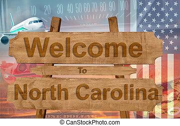 norte, estados unidos de américa, bienvenida, madera, estado...