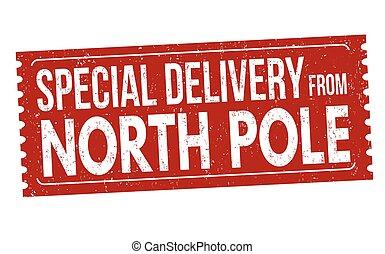 norte, estampilla, señal, entrega, poste, o, especial