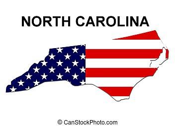 norte, eua, listras, estado, desenho, estrelas, carolina