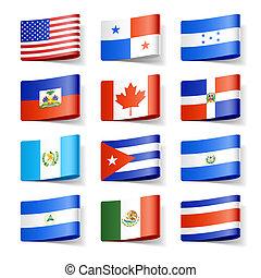 norte, flags., america., mundo