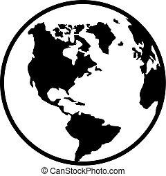 norte, globo, planeta, terra,  América, SUL