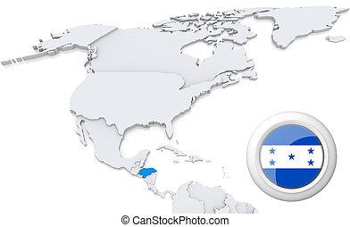 norte, mapa, américa, honduras