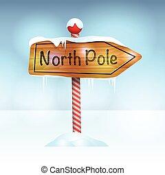 norte, nieve, ilustración, señal, poste, navidad
