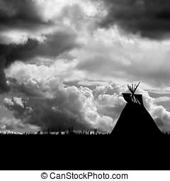 norte, paisagem índia, americano