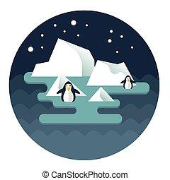 norte, penguins01, poste