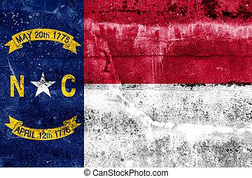 norte, pintado, estado, parede, bandeira, grunge, carolina